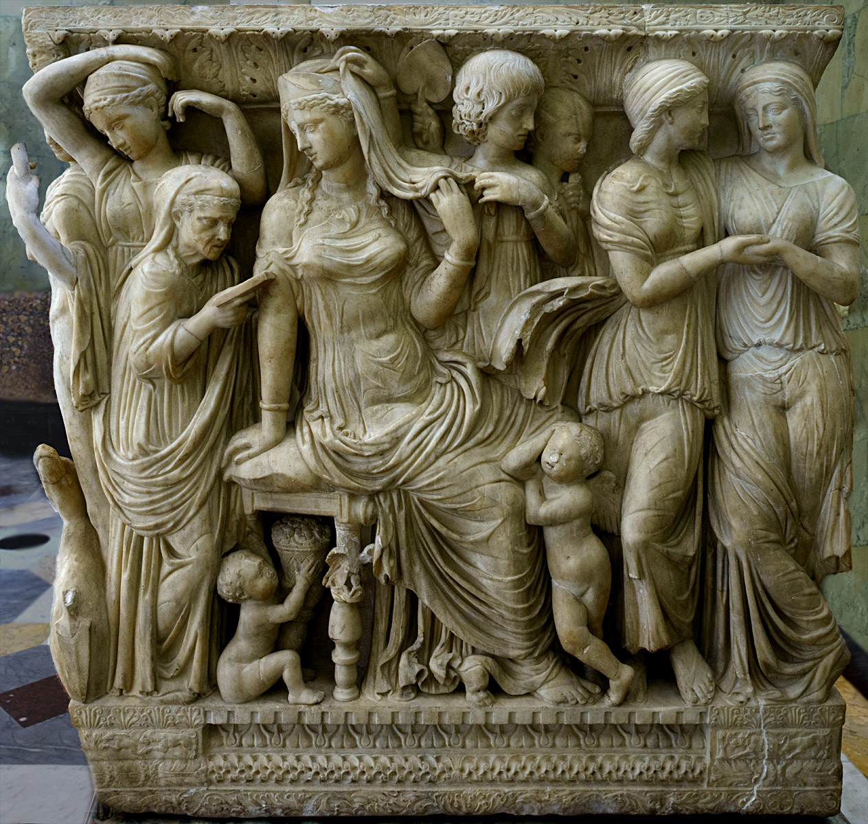 Sarcophagus with scenes of myth of Phaedra and Hippolytus. Right side panel: Phaedra, the wife of Theseus and stepmother of Hippolitus hands over a declaration of love for her stepson to her wet mother. Marble. Late 2nd cent. CE. Inv. No. A 432. Saint Petersburg, The State Hermitage Museum