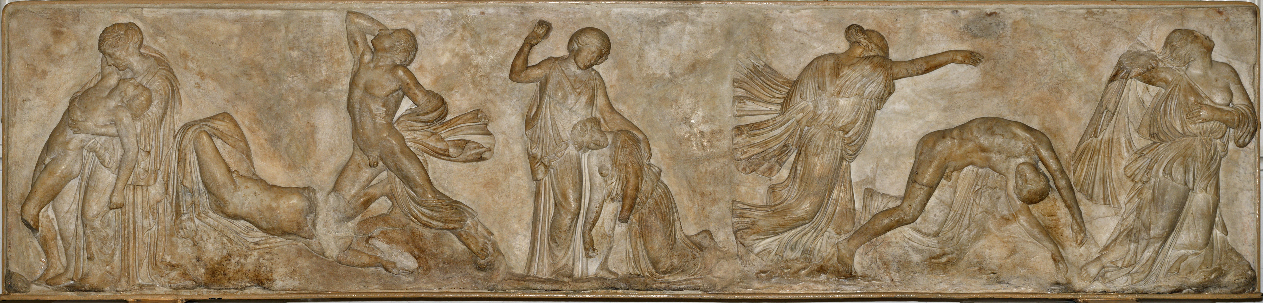The Death of the Niobe's Children. Relief of a front panel of a sarcophagus. Marble. Roman work of the 1st century BCE (?) after a Greek original of the 430s BCE by Phidias. Inv. No. Гр. 4223 / A.434 Saint Petersburg, The State Hermitage Museum
