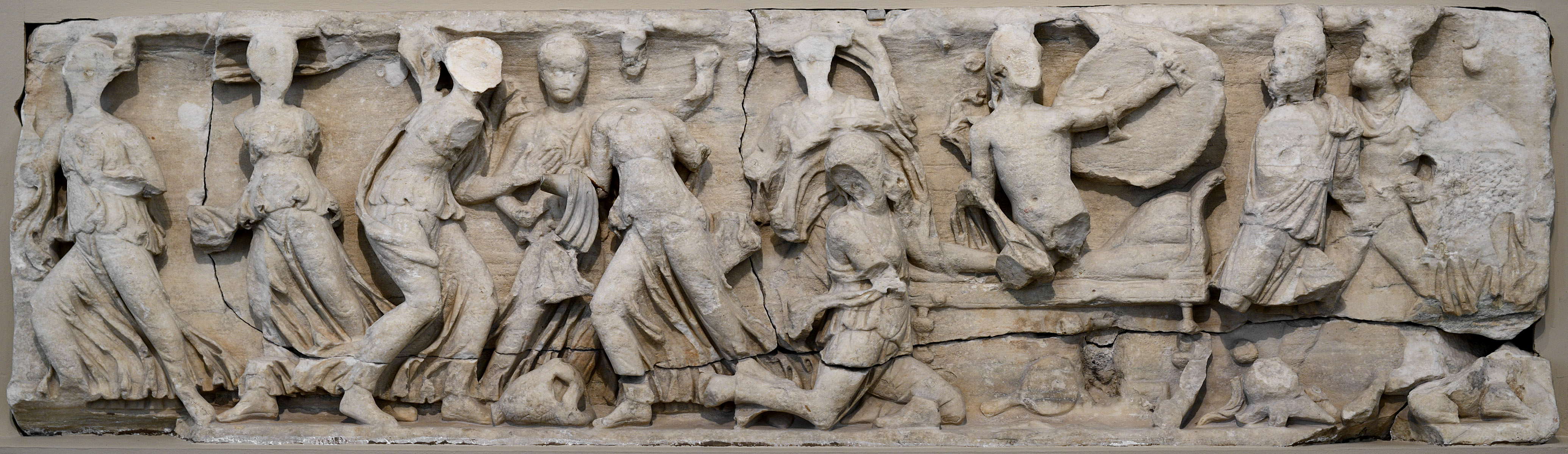 Achilles at the Court of King Lycomedes (Achilles on the island of Scyros). Longitudinal panel of a sarcophagus. Marble. Ca. mid-2nd century CE. Inv. Nos. II 1a 833, 925—927, 930. Moscow, the Pushkin Museum of Fine Arts