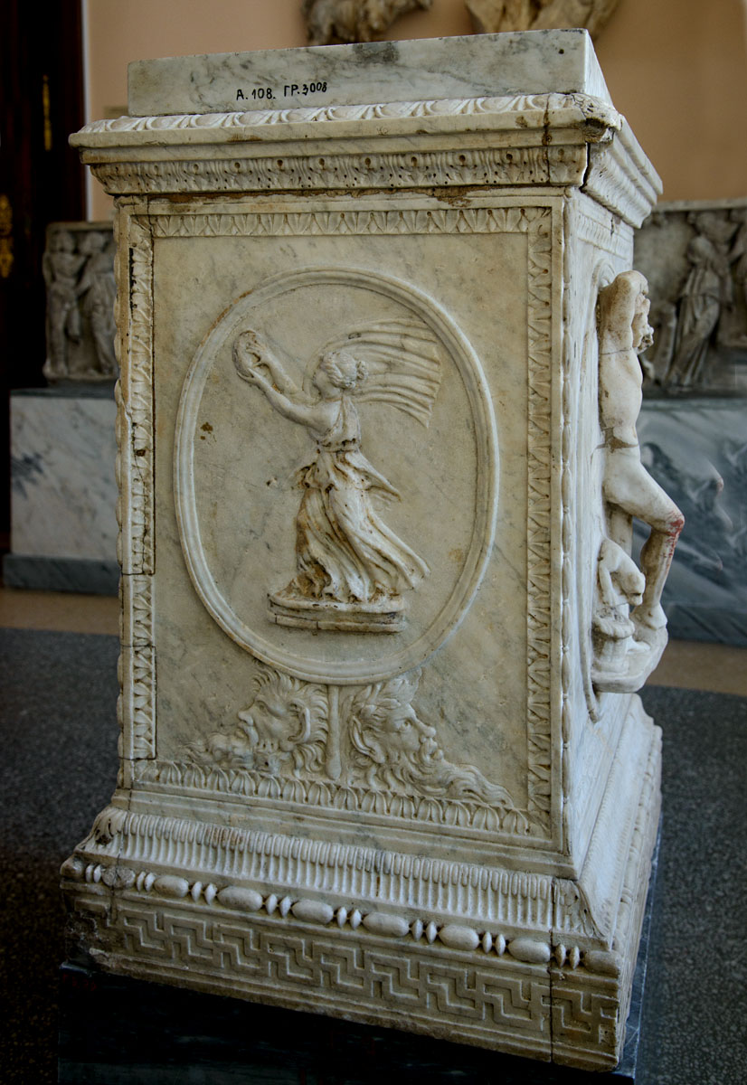 Cippus of freedmen Scantius Olimpus and Scantia Agela (right side). Roman work. Marble. 2nd century CE. Inv. No. A.108. Saint Petersburg, The State Hermitage Museum