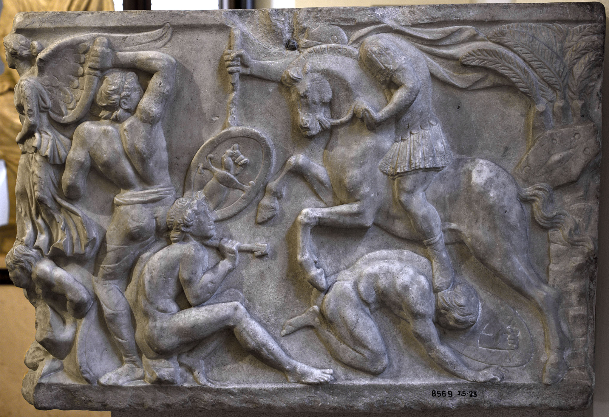 Sarcophagus with battle scene know as the Small Ludovisi sarcophagus. Right-hand panel. Marble. 170—180 CE. Rome, Roman National Museum, Palazzo Altemps