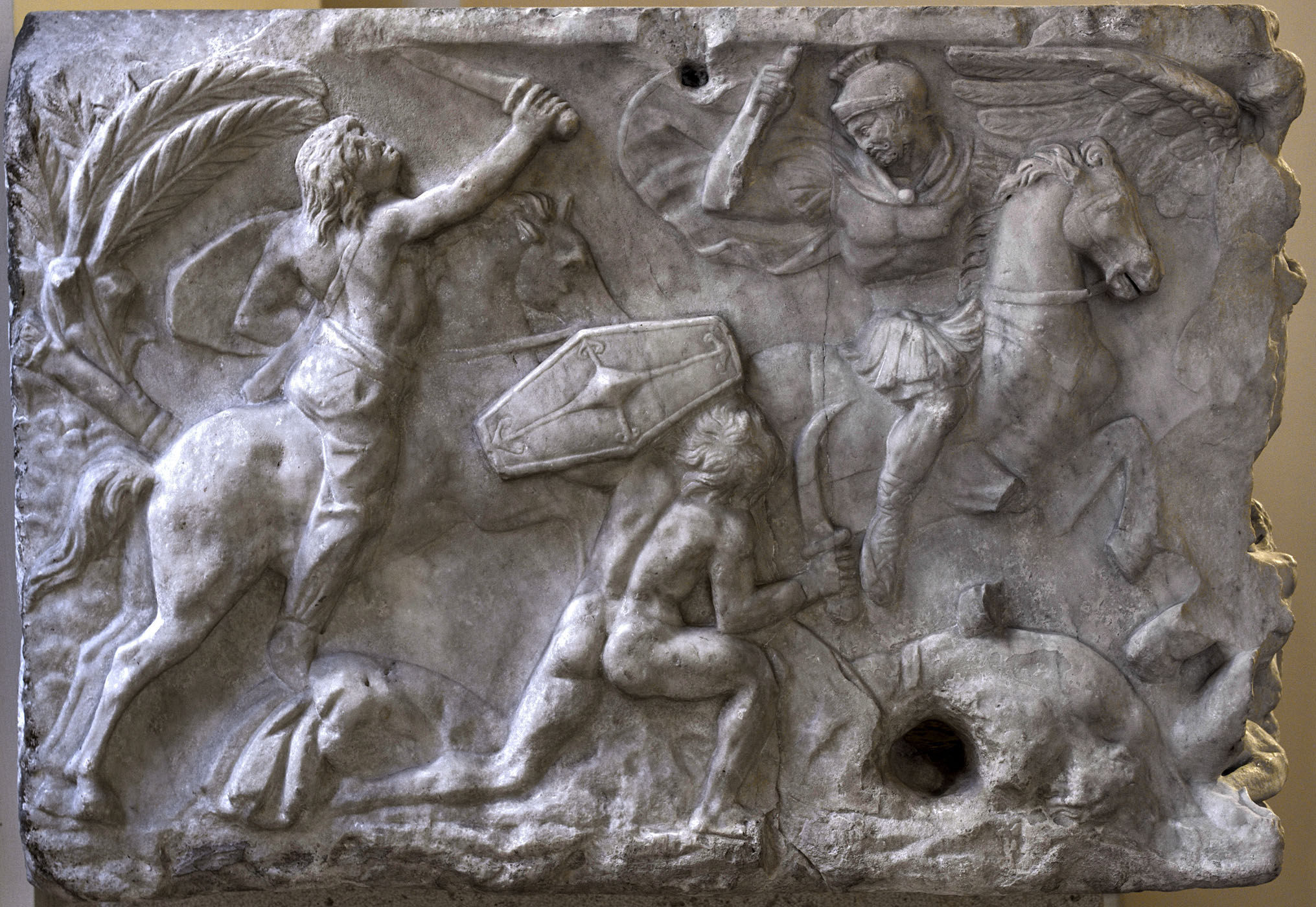 Sarcophagus with battle scene know as the Small Ludovisi sarcophagus. Left-hand panel. Marble. 170—180 CE. Rome, Roman National Museum, Palazzo Altemps
