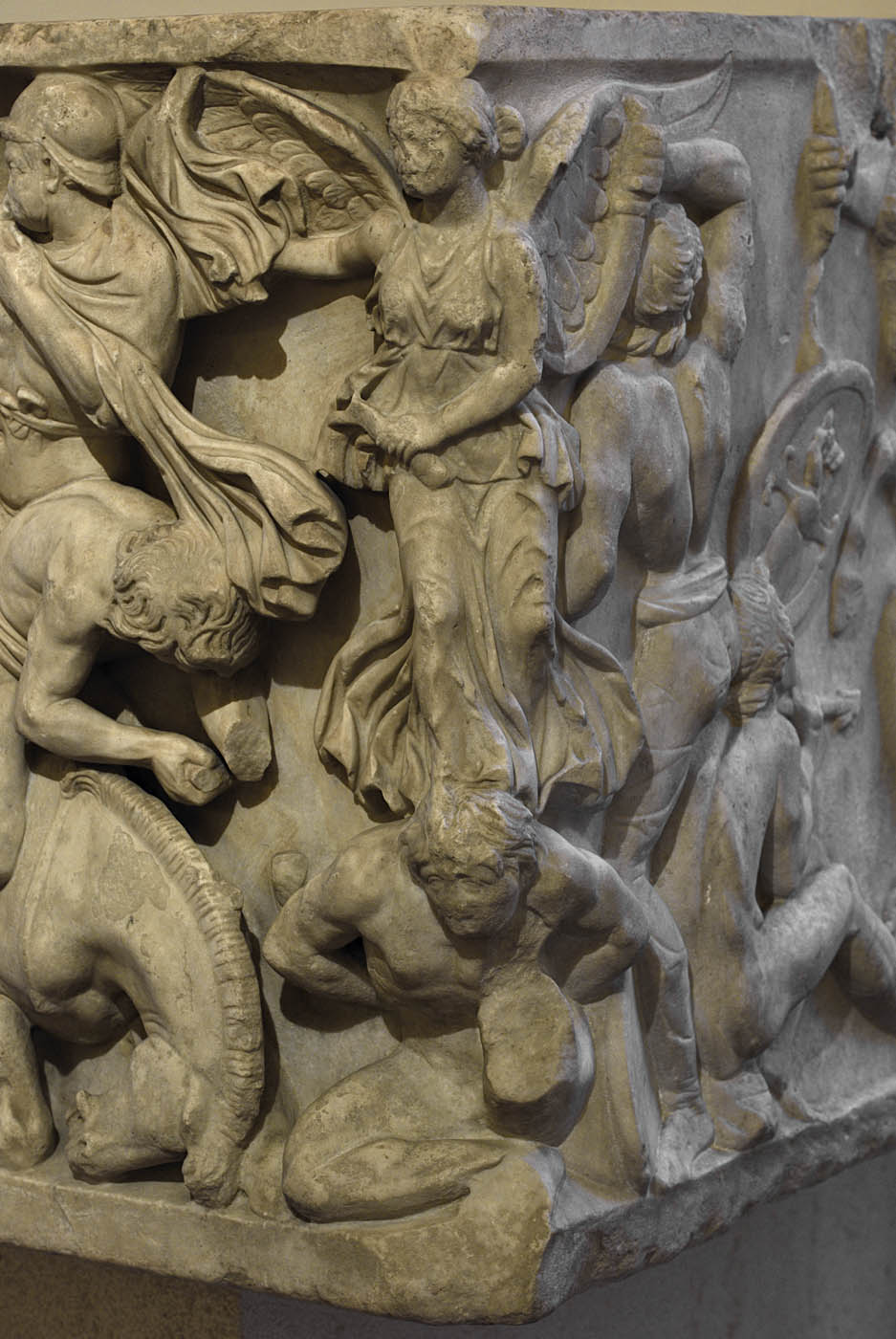 Sarcophagus with battle scene know as the Small Ludovisi sarcophagus. The front panel (close-up). Marble. 170—180 CE. Rome, Roman National Museum, Palazzo Altemps
