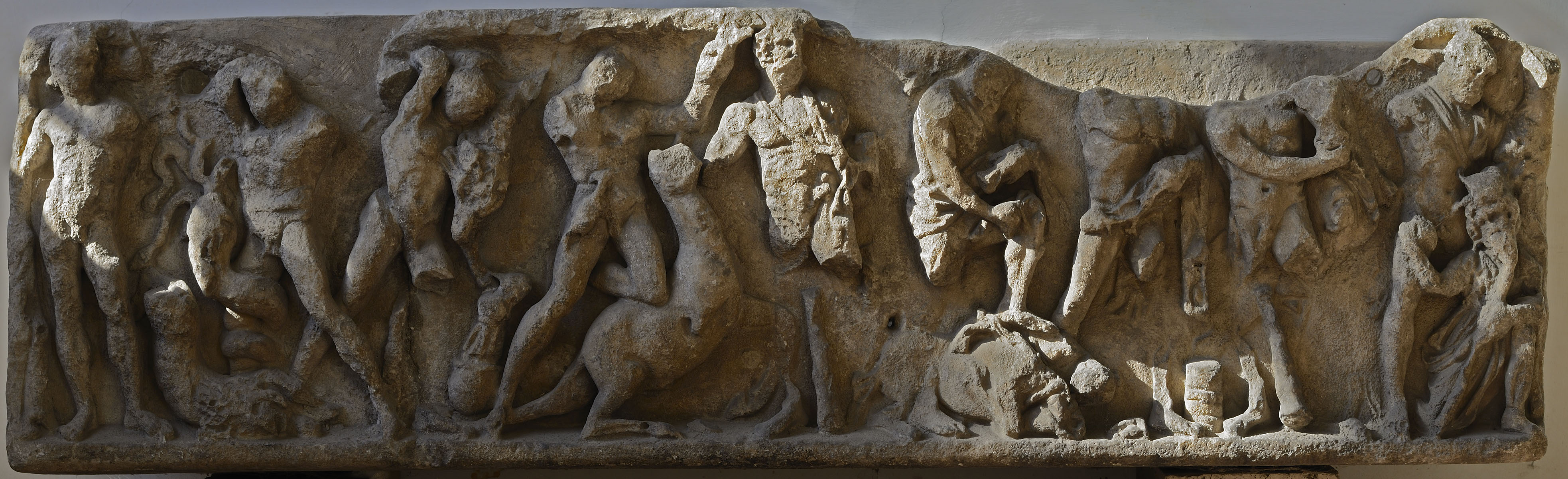 "Relief ""The Labours of Hercules"" (front panel of a sarcophagus). Marble. 2nd—3rd cent. CE. Rome, National Gallery of Ancient Art of Corsini Palace"