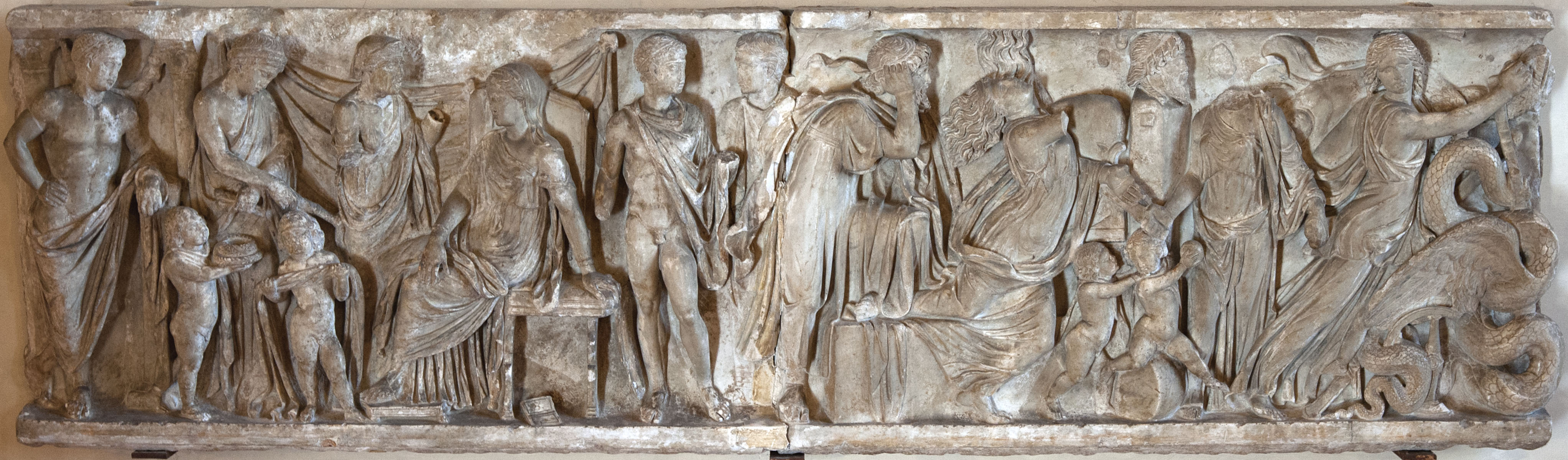 Scenes of the myth of Medea. Front panel of sarcophagus. Luna marble. Mid-2nd cent. CE.  Inv. No. 6763. Mantua, Ducal Palace
