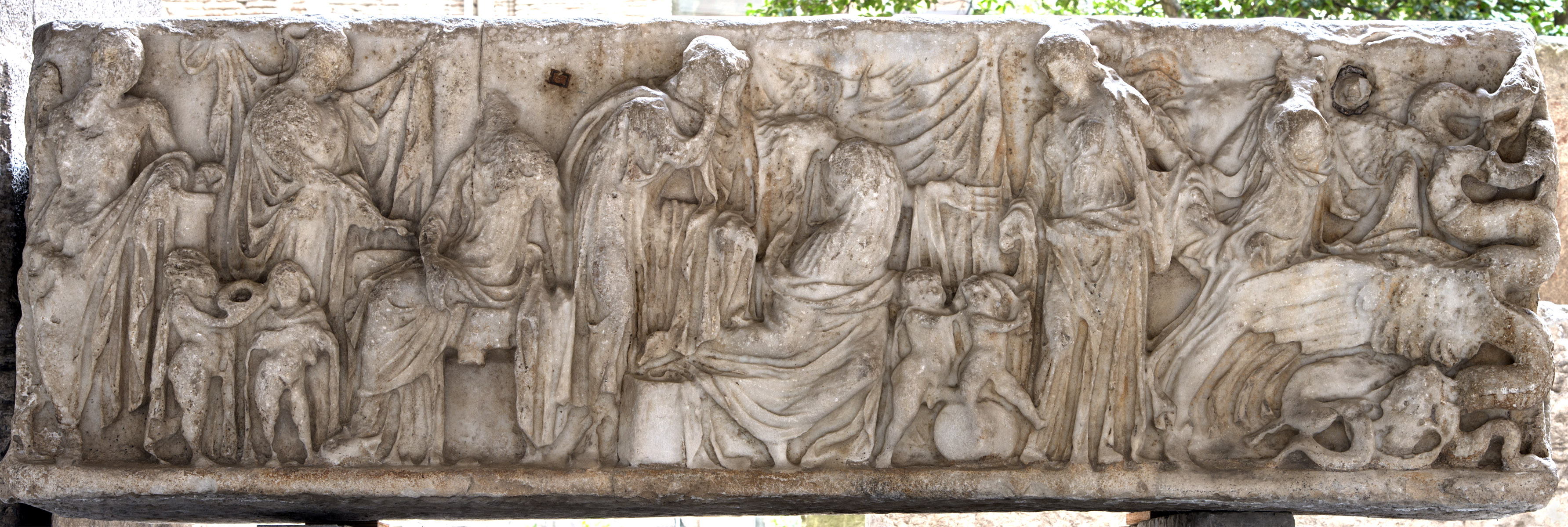 Scenes of the myth of Medea. Front panel of sarcophagus. Luna marble. 2nd cent. CE.  Inv. No. 3257. Naples, National Archaeological Museum