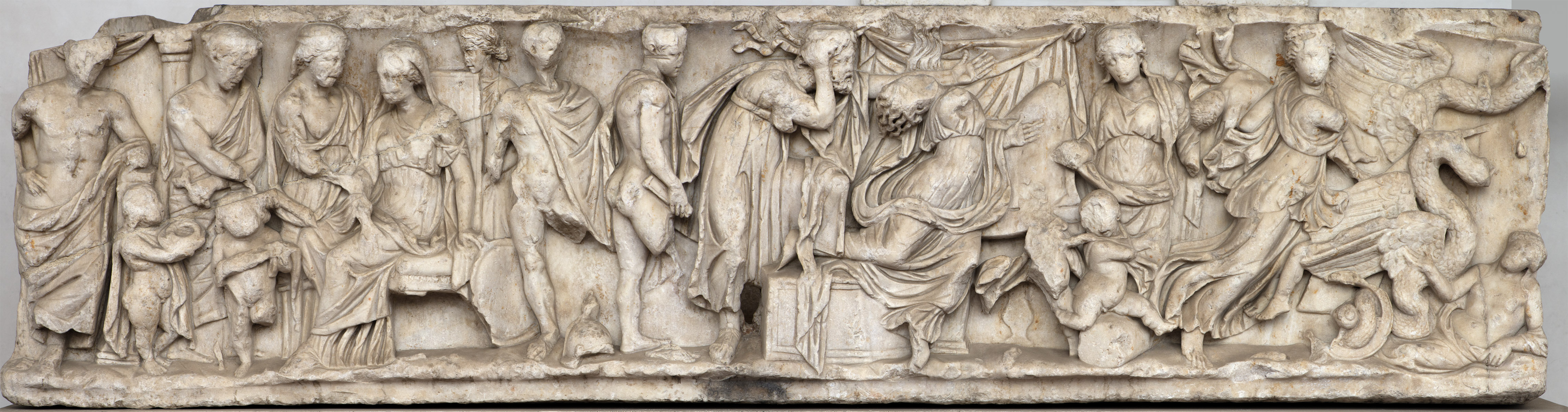 Scenes of the myth of Medea. Front panel of sarcophagus. Greek marble. 150—170 CE. Inv. No. 222. Rome, Roman National Museum, Baths of Diocletian