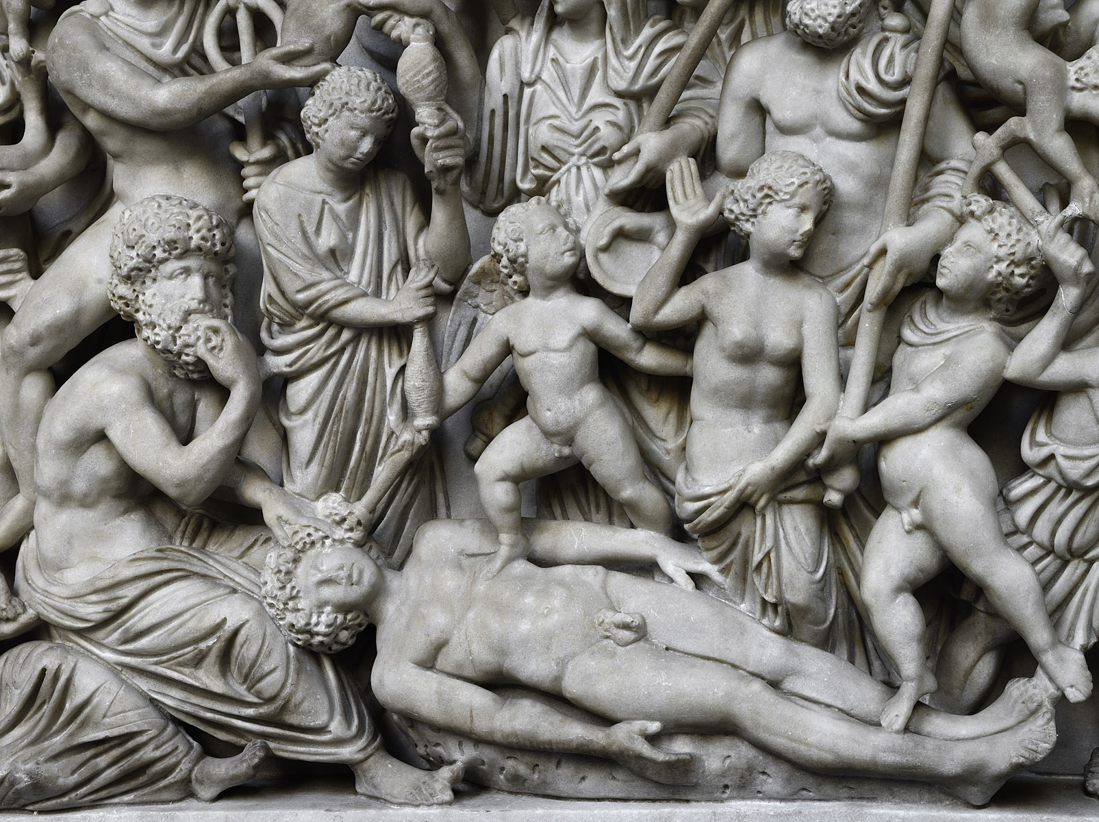 Sarcophagus with scenes of the myth of Prometheus and the  creation of man (close-up). Marble. 4th cent. CE. Inv. No. 6705. Naples, National Archaeological Museum