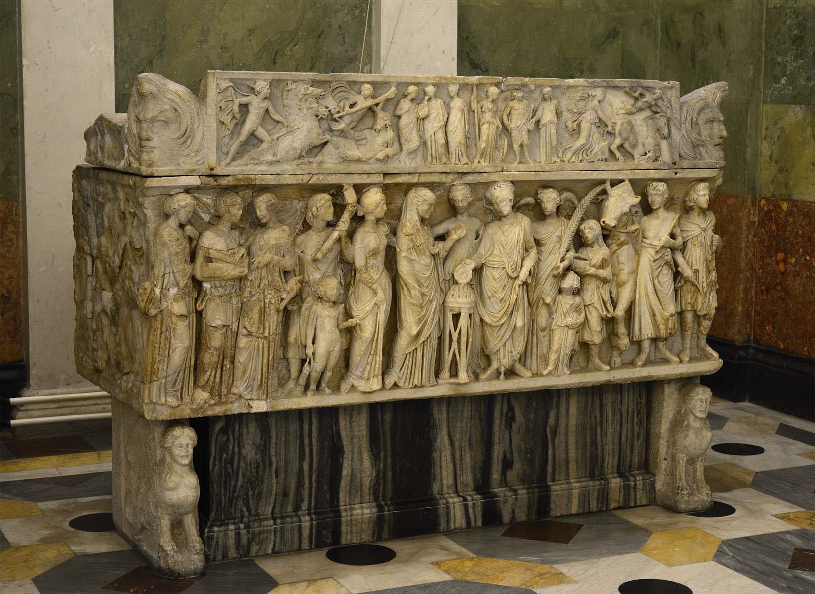 Sarcophagus with a matrimonial ceremony (so-called wedding or marriage sarcophagus, or a sarcophagus of the spouses). Marble. 3rd cent. CE. Inv. No. A 433. Saint Petersburg, The State Hermitage Museum