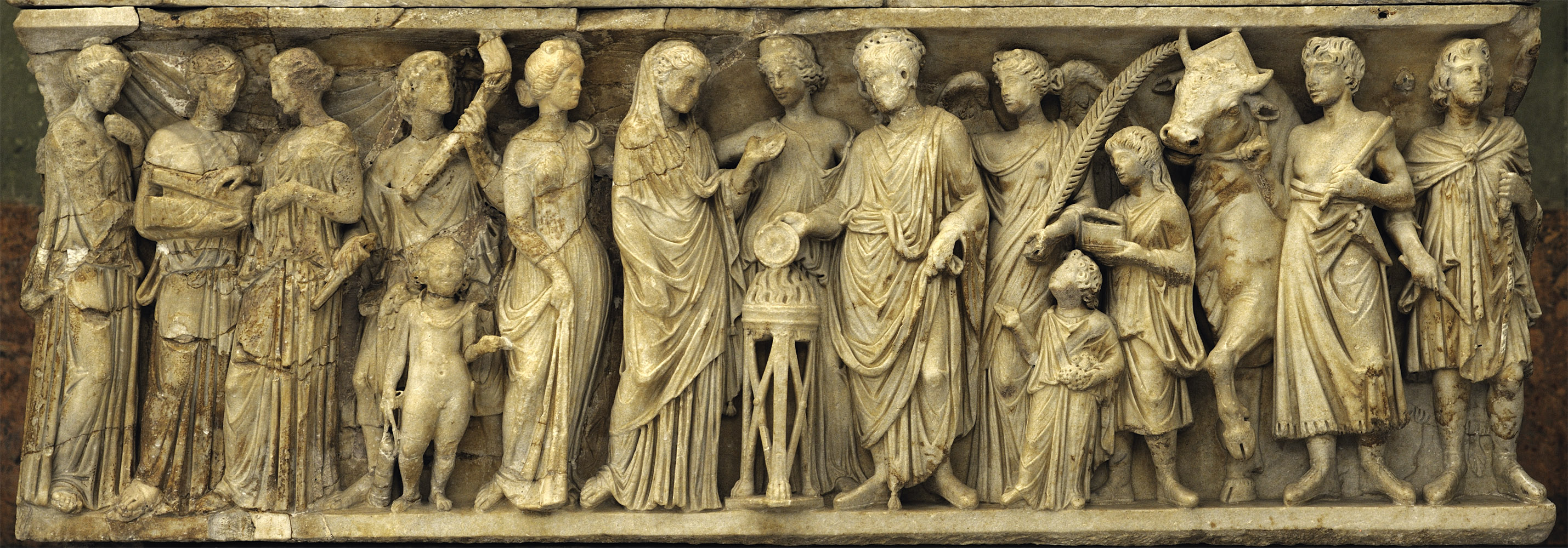 Sarcophagus with a matrimonial ceremony (so-called wedding or marriage sarcophagus) — front relief. Marble. 3rd cent. CE. Inv. No. A 433. Saint Petersburg, The State Hermitage Museum