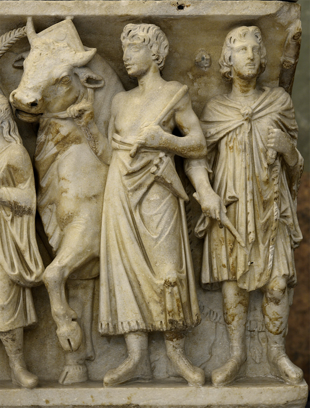 Sarcophagus with a matrimonial ceremony (so-called wedding or marriage sarcophagus) — a close-up of the front panel. Marble. 3rd cent. CE. Inv. No. A 433. Saint Petersburg, The State Hermitage Museum