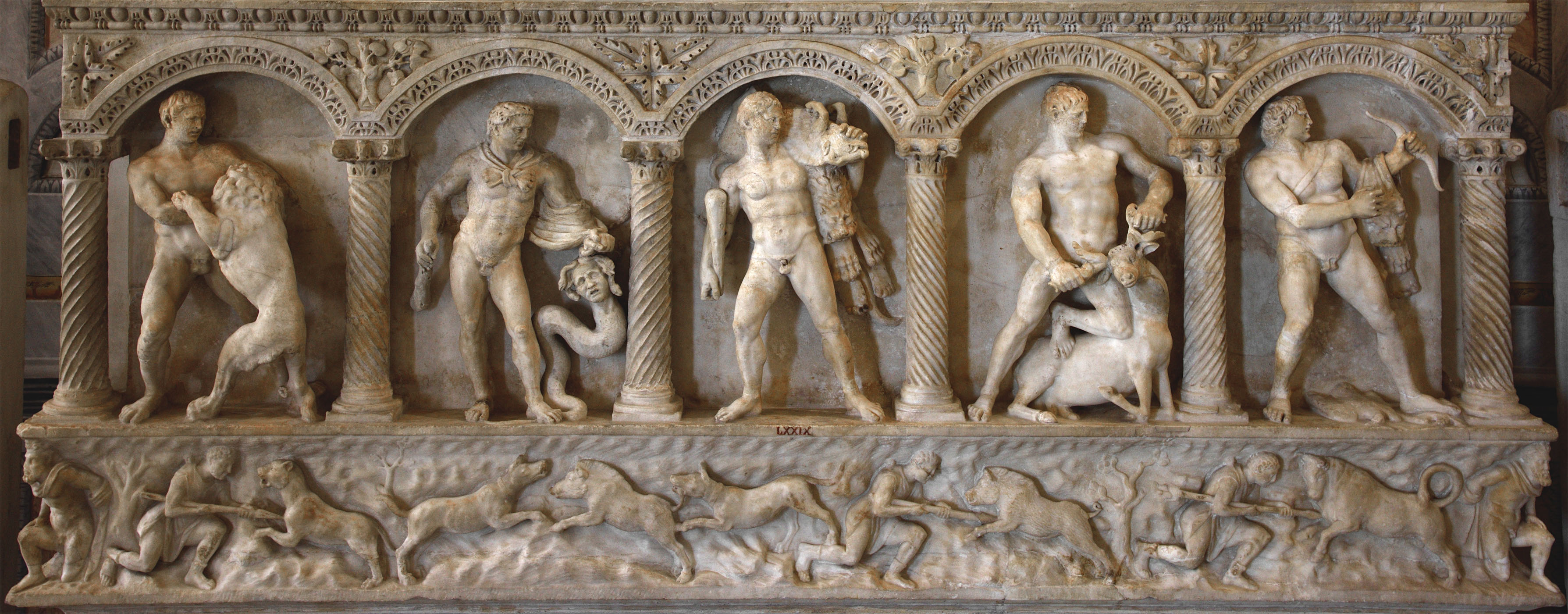 Front of columnar sarcophagus showing the Labours of Heracles and scenes of hunt. Asiatic marble. 160 CE.  Inv. No. LXXIX / 79. Rome, Museum and Gallery of Villa Borghese, Room II