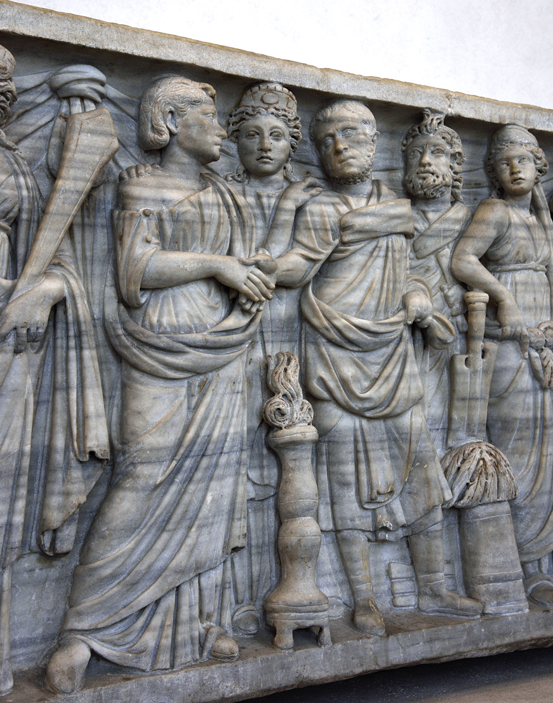 Sarcophagus of a married couple with personifications of Portus, Annona, Concordia, Genius Senati, Abundantia and Africa (close-up). Front panel. Marble. 270—280 CE. Rome, Roman National Museum, Palazzo Massimo alle Terme
