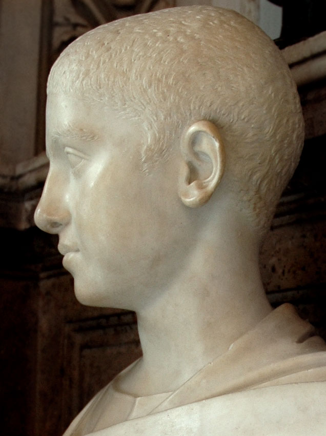 Portrait of Severus Alexander. Detail. Marble. 222—224 CE. Inv. No. MC480. Rome, Capitoline Museums, Palazzo Nuovo, Hall of the Emperors