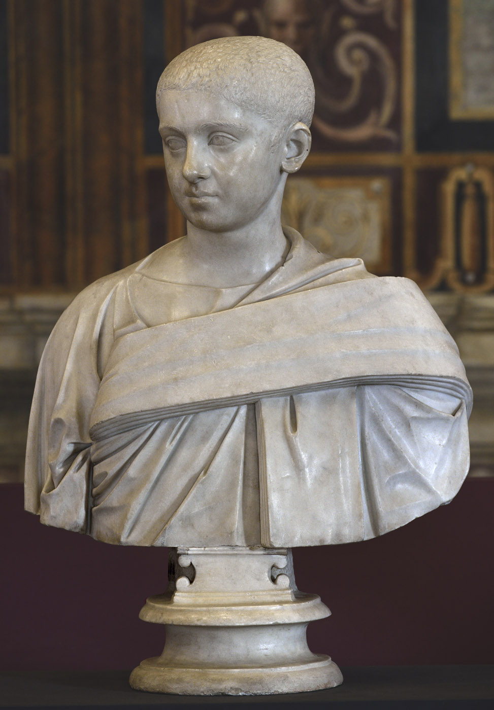 Portrait of Severus Alexander. Marble. 222—224 CE.  Inv. No. MC480. Rome, Capitoline Museums, Palazzo Nuovo, Hall of the Emperors
