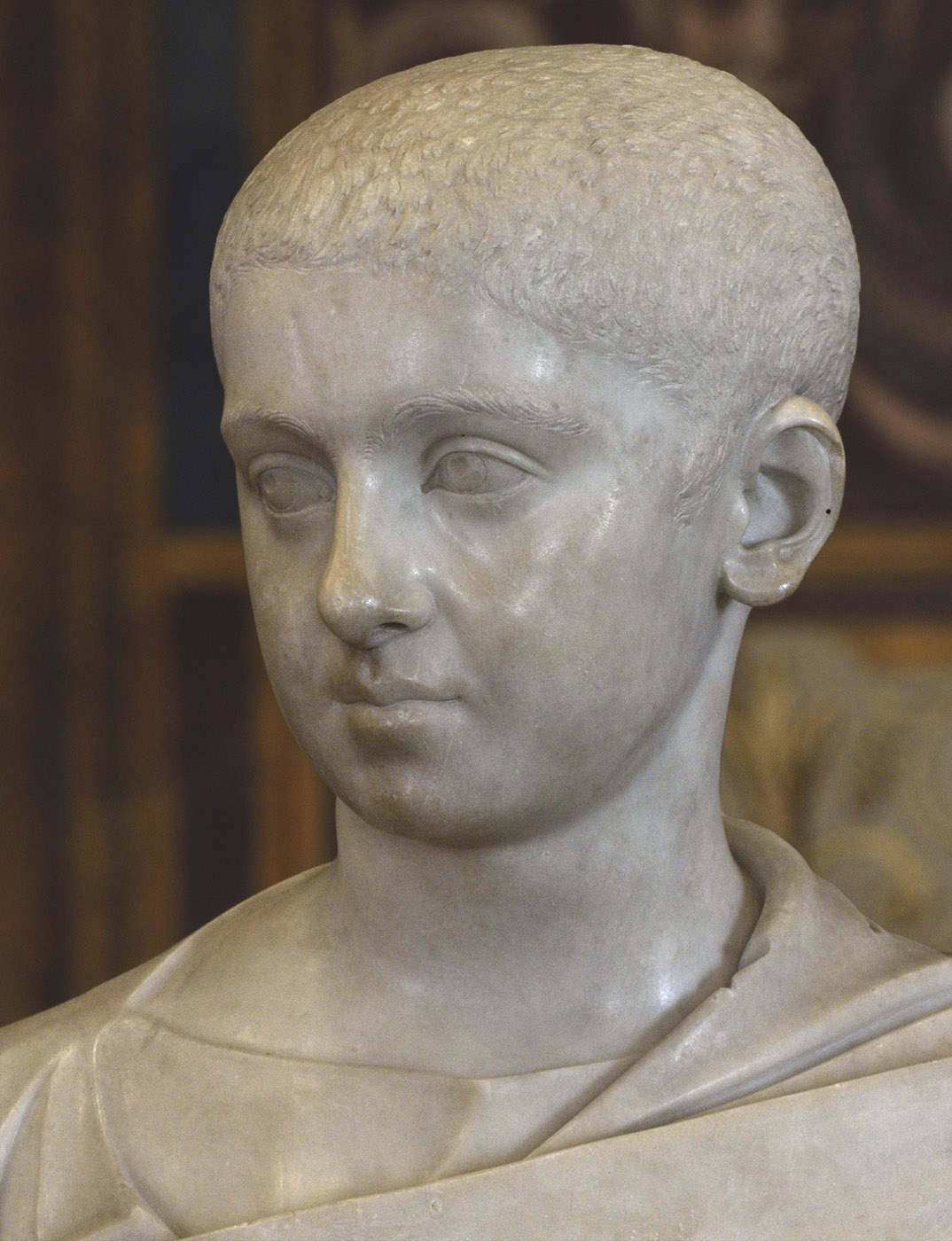 Portrait of Severus Alexander (close-up). Marble. 222—224 CE. Inv. No. MC480. Rome, Capitoline Museums, Palazzo Nuovo, Hall of the Emperors