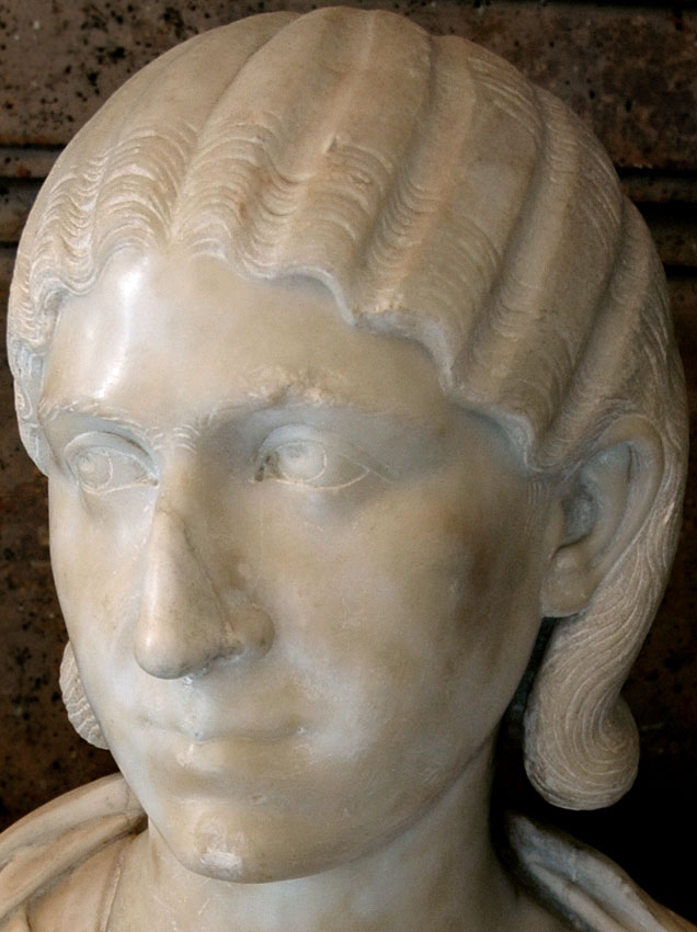 Julia Mamaea. Detail. Marble. 222—235 CE. Height 58 cm. Inv. No. MC457. Rome, Capitoline Museums, Palazzo Nuovo, Hall of the Emperors