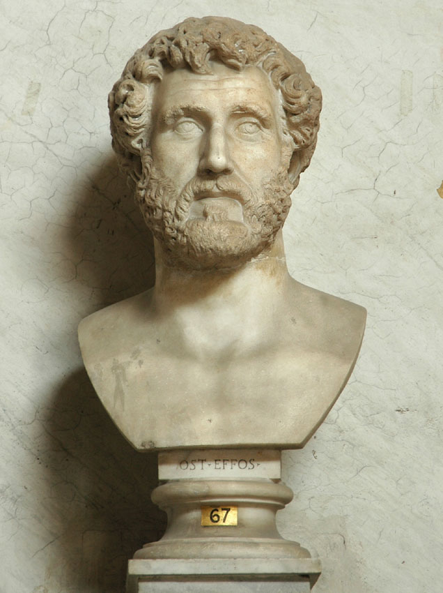 Head of Antoninus Pius. Marble. 2nd century. Inv. No. 201. Rome, Vatican Museums, Pius-Clementine Museum, Room of the Greek Cross, 67