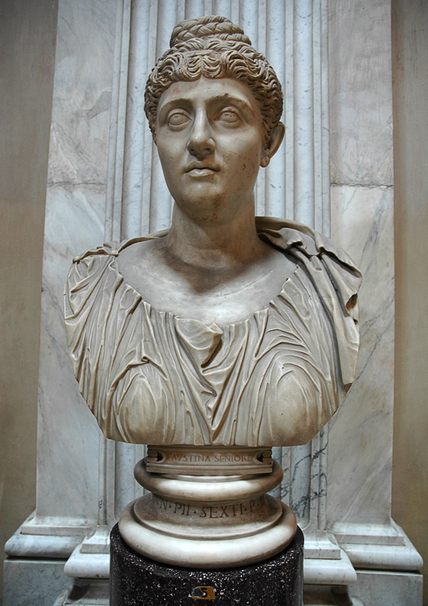 Bust of Faustina the Elder. Marble. 2nd century. Inv. No. 255. Rome, Vatican Museums, Pius-Clementine Museum, Round Room, 5