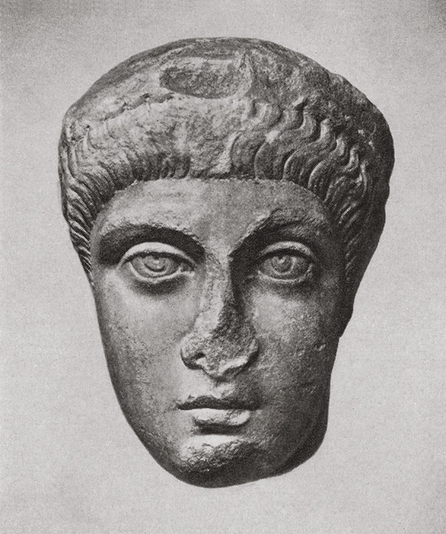 Head of Arcadius. Marble. Late 4th century. Berlin, State Museums