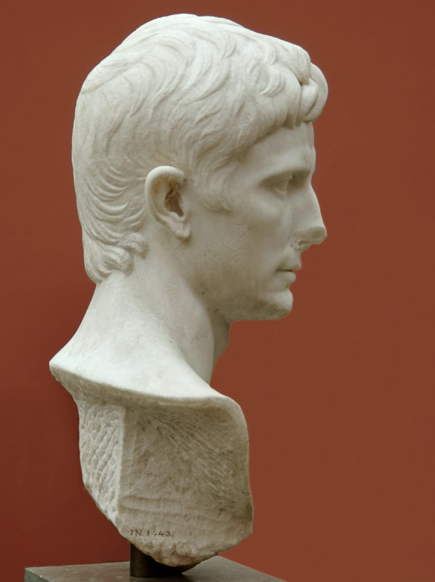 August. Marble. Copy from the beginning of the 1st century CE after an original from 30—17 BCE.  Inv. No. 1443. Copenhagen, New Carlsberg Glyptotek