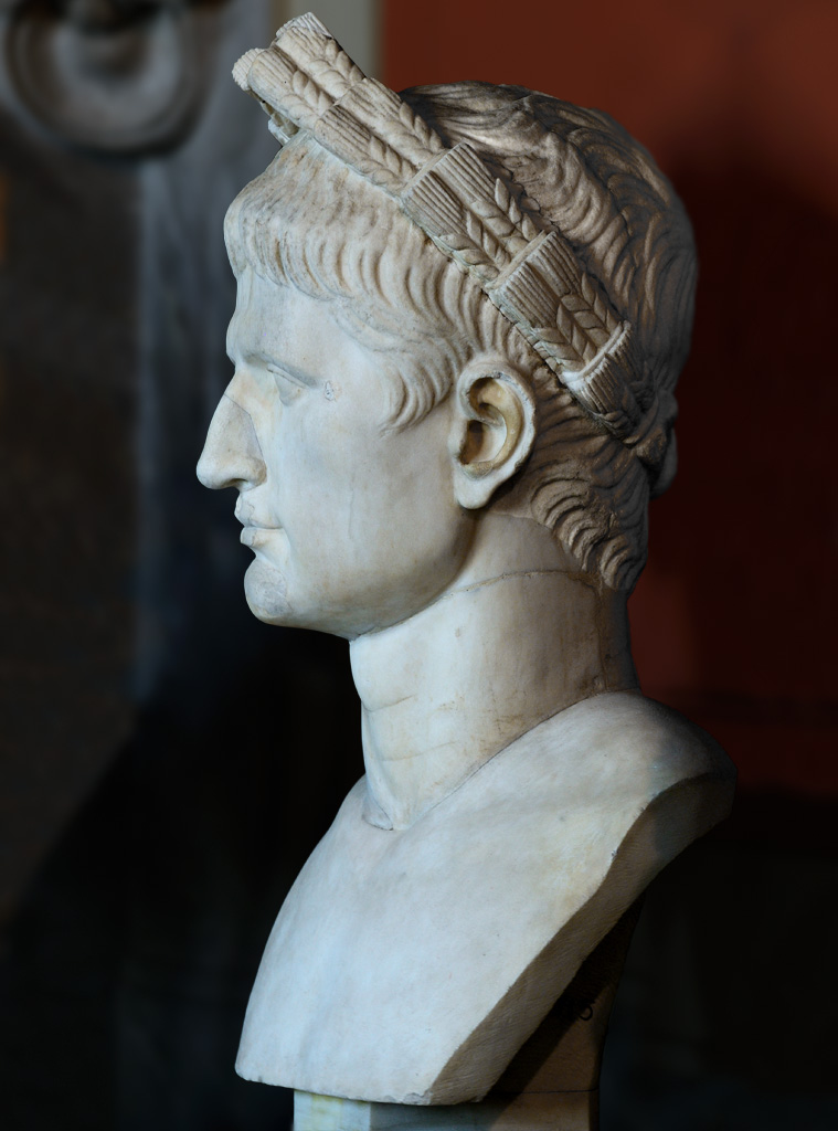Head of August wearing the wreath of ears. Marble. After 96 CE. Inv. No. 715. Rome, Vatican Museums, Pius-Clementine Museum, Gallery of the Busts, 124