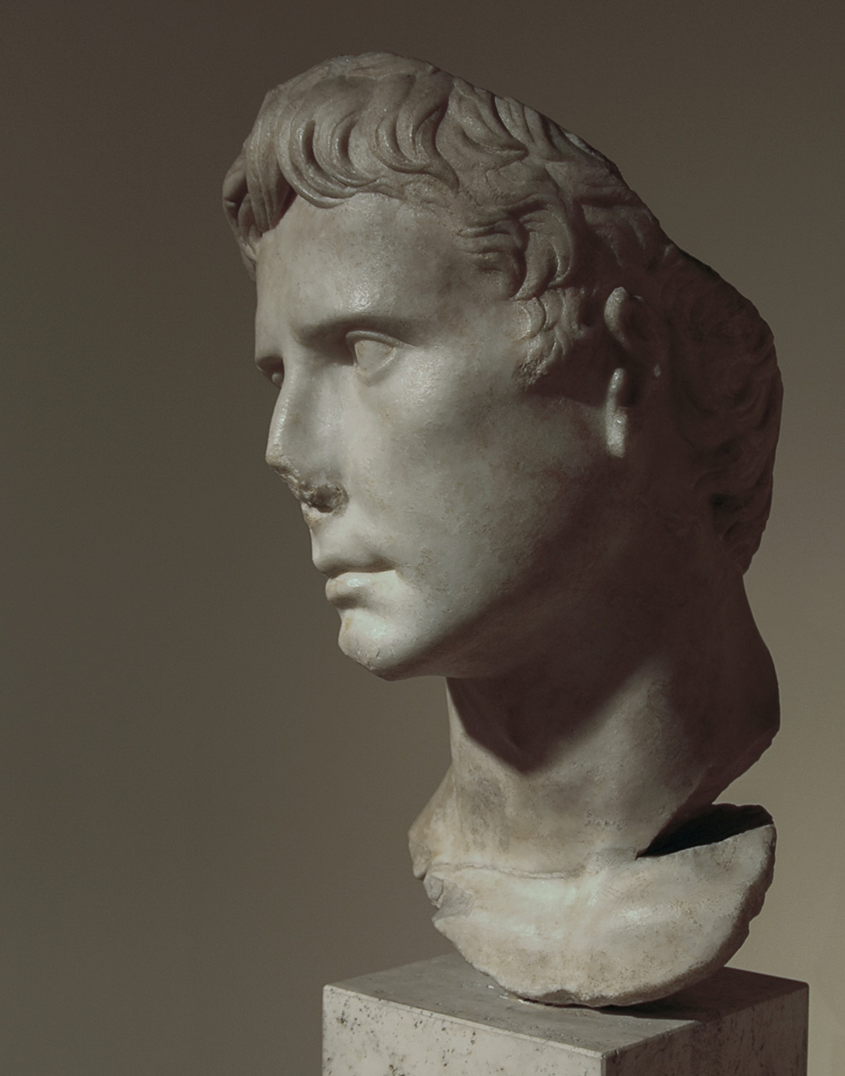 Portrait of Augustus. Greek insular marble. 27—20 BCE. Inv. No. MC 2394. Rome, Capitoline Museums, Museum Montemartini (Centrale Montemartini), I. 61