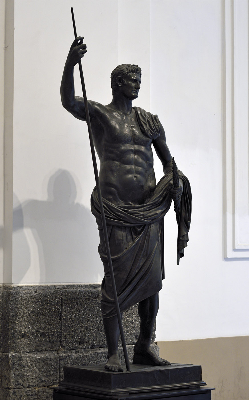 Emperor Augustus as a nude hero. Bronze. 49—50 CE. Inv. No. 5595. Naples, National Archaeological Museum