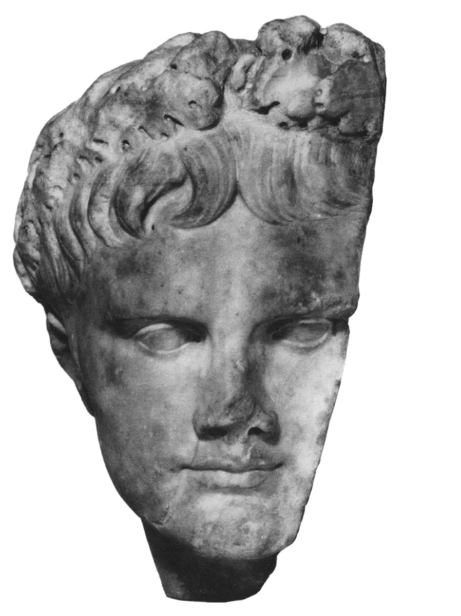 Portrait of Augustus. Part of a relief. The Prima Porta type. White fine-grained marble. 6—14 CE?  Inv. No. R. 2001-5-142. Vienne, Lapidary Museum St. Peter