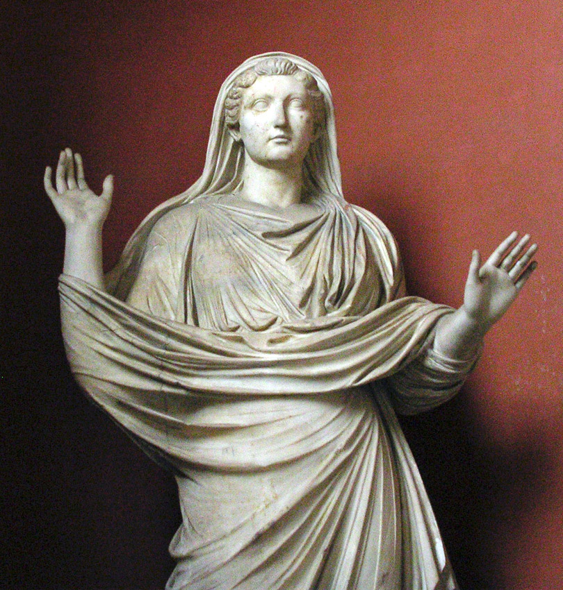 Statue of Livia praying. Fragment. Marble. The second half of the 1st century CE. Inv. No. 637. Rome, Vatican Museums, Pius-Clementine Museum, Gallery of the Busts, 52