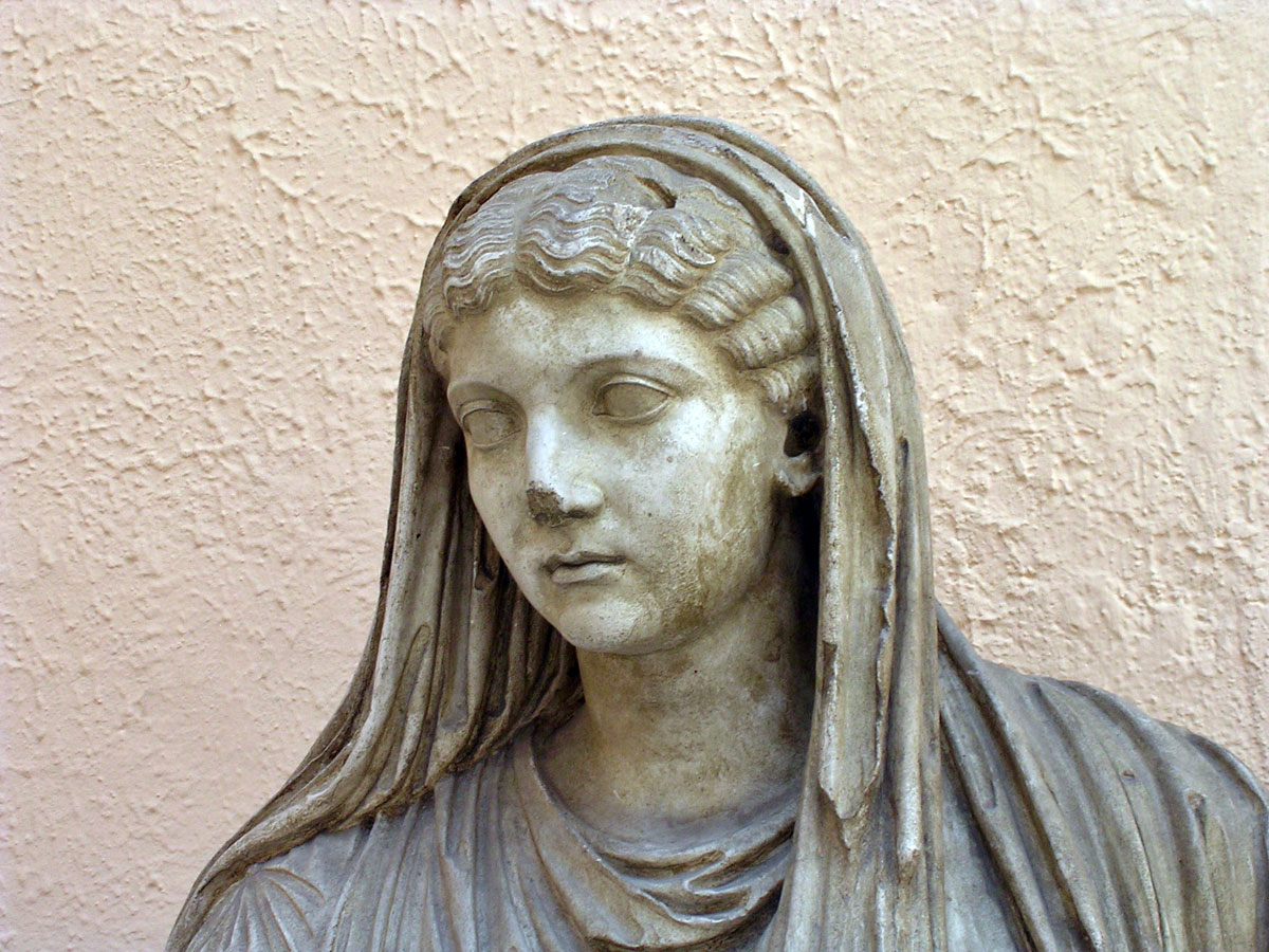 Statue of seated Livia. Detail. First quarter of the 1st century CE. Plaster cast. Rome, Museum of Roman Civilization