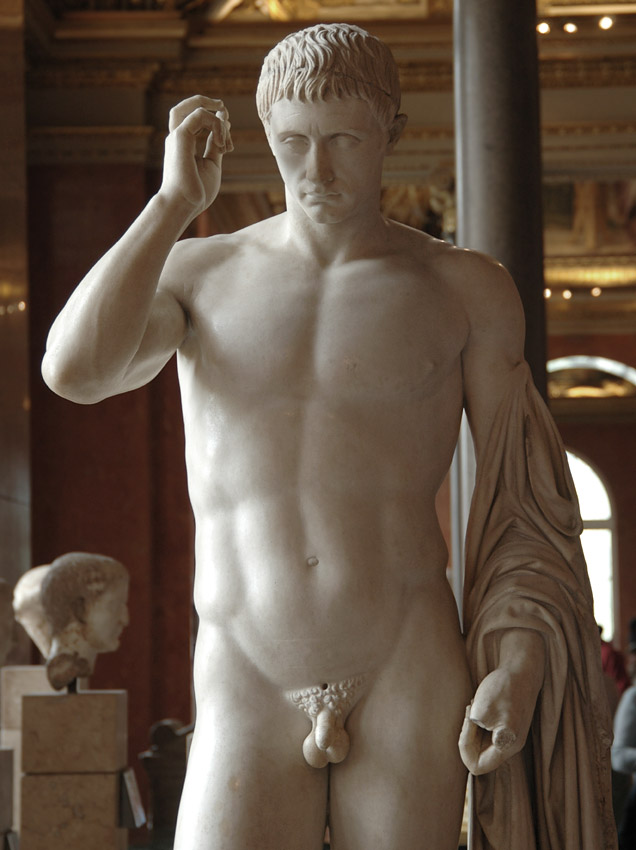 Funeral and honorific statue of Marcellus, represented as Hermes. Detail. Greek marble. Ca. 20 BCE. Inv. No. MR 315 (Ma 1207). Paris, Louvre Museum