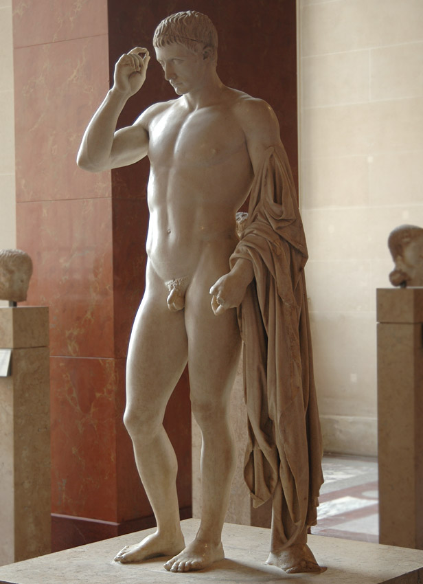 Funeral and honorific statue of Marcellus, represented as Hermes. Greek marble. Ca. 20 BCE. Height 1.80 m. Inv. No. MR 315 (Ma 1207). Paris, Louvre Museum