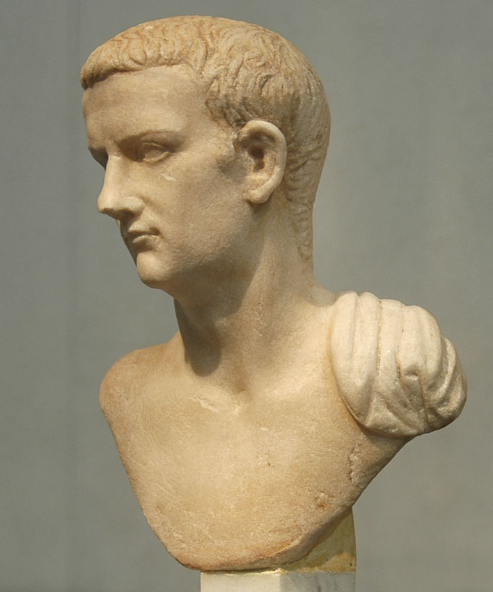 Bust of Caligula. Carrara (luni) marble. 37—41 CE. Height 16 cm. Inv. No. 4256. Rome, Roman National Museum, Palazzo Massimo alle Terme