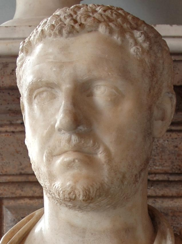 Portrait of Caracalla. Detail. Marble. 211—217 CE. Inv. No. MC465. Rome, Capitoline Museums, Palazzo Nuovo, Hall of the Emperors