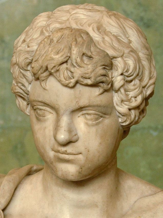 Portrait of the Young Caracalla. Detail. Marble. Late 2nd century — early 3rd century. Height 64 cm. Inv. No. A 497. Saint Petersburg, The State Hermitage Museum
