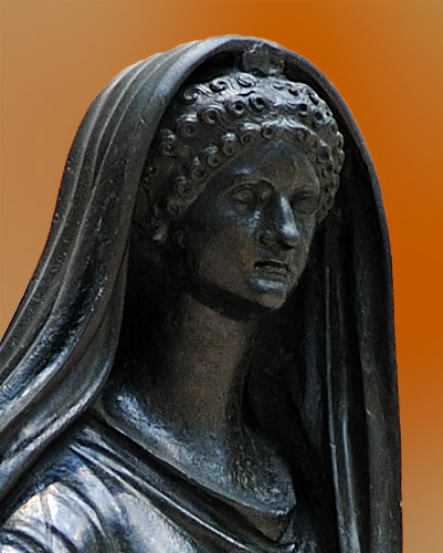 Agrippina the Younger as a priestess (detail). Bronze. 49—50 CE. Inv. No. 5609. Naples, National Archaeological Museum
