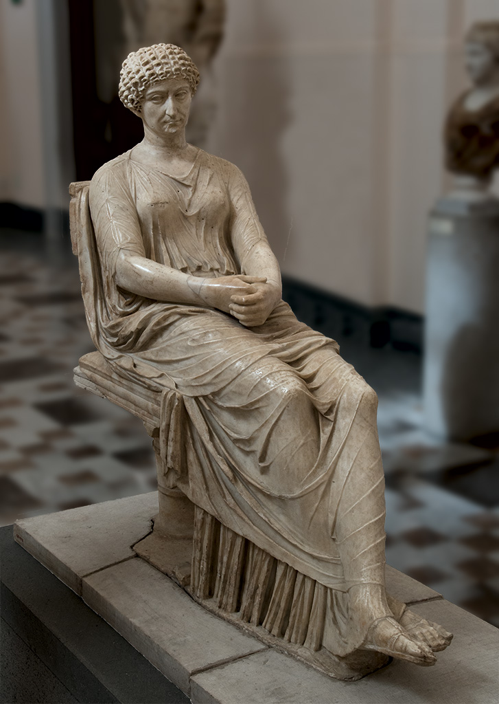 A sitting woman with a portrait head (so-called Agrippina Minor). Pentelic marble. 54—99 CE.  Inv. No. 6029. Naples, National Archaeological Museum