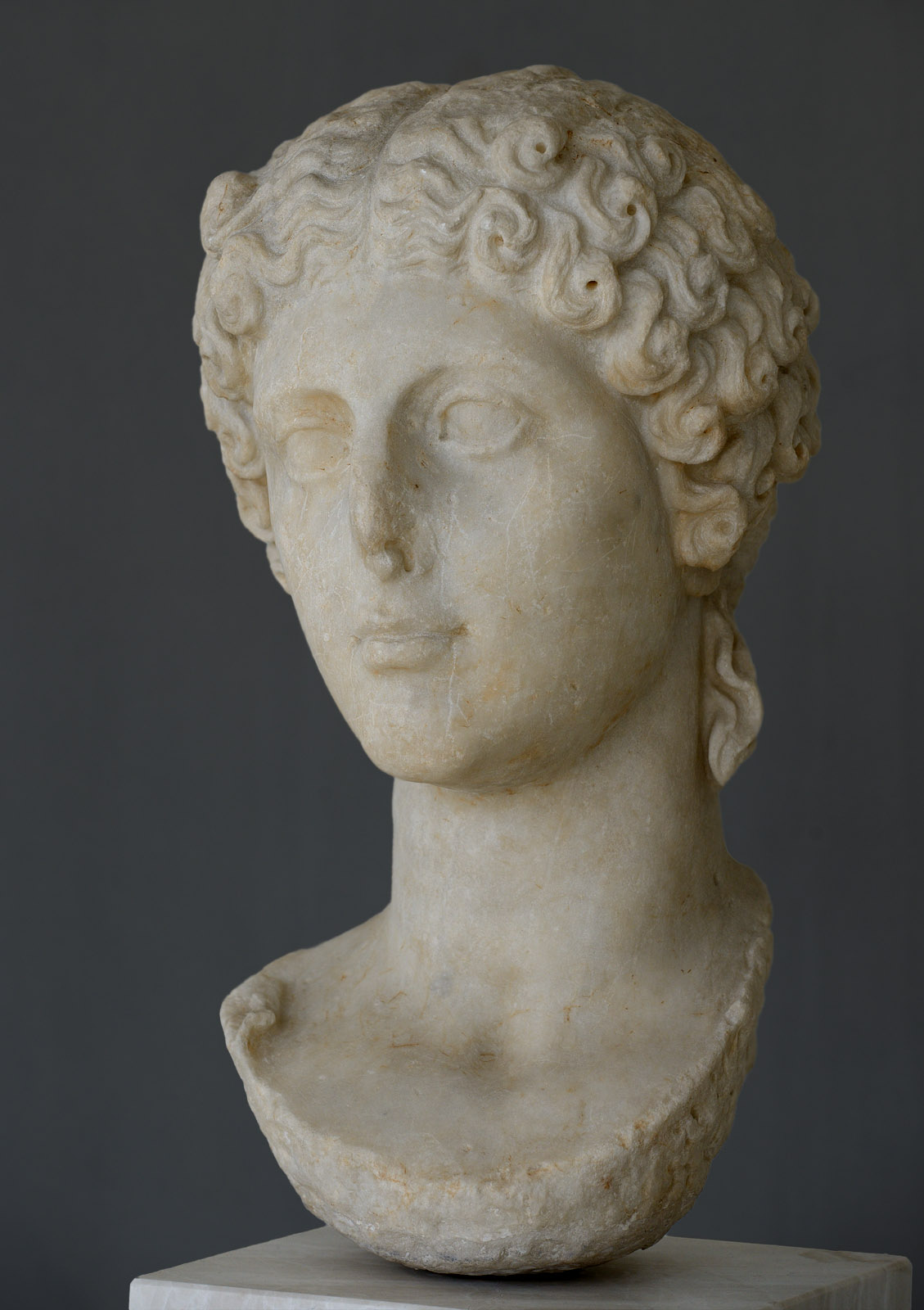 Agrippina the Younger, the wife of Claudius. Marble. 41—54 CE. Inv. No. NAM 3554 / EAM 3554. Athens, New Acropolis Museum