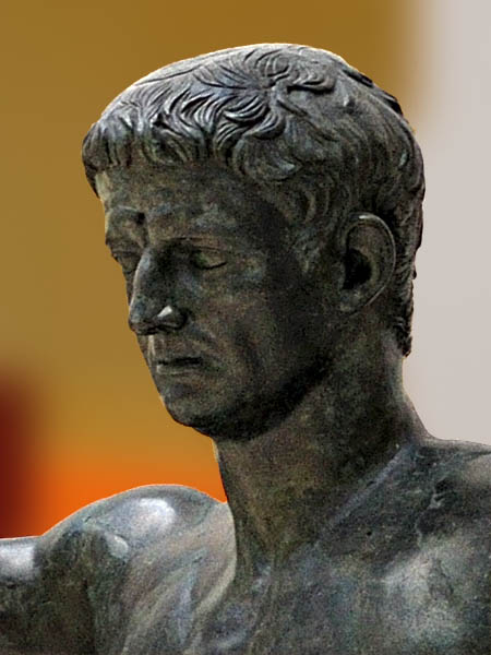 Emperor Claudius as a nude hero (detail). Bronze. 49—50 CE. Inv. No. 5593. Naples, National Archaeological Museum
