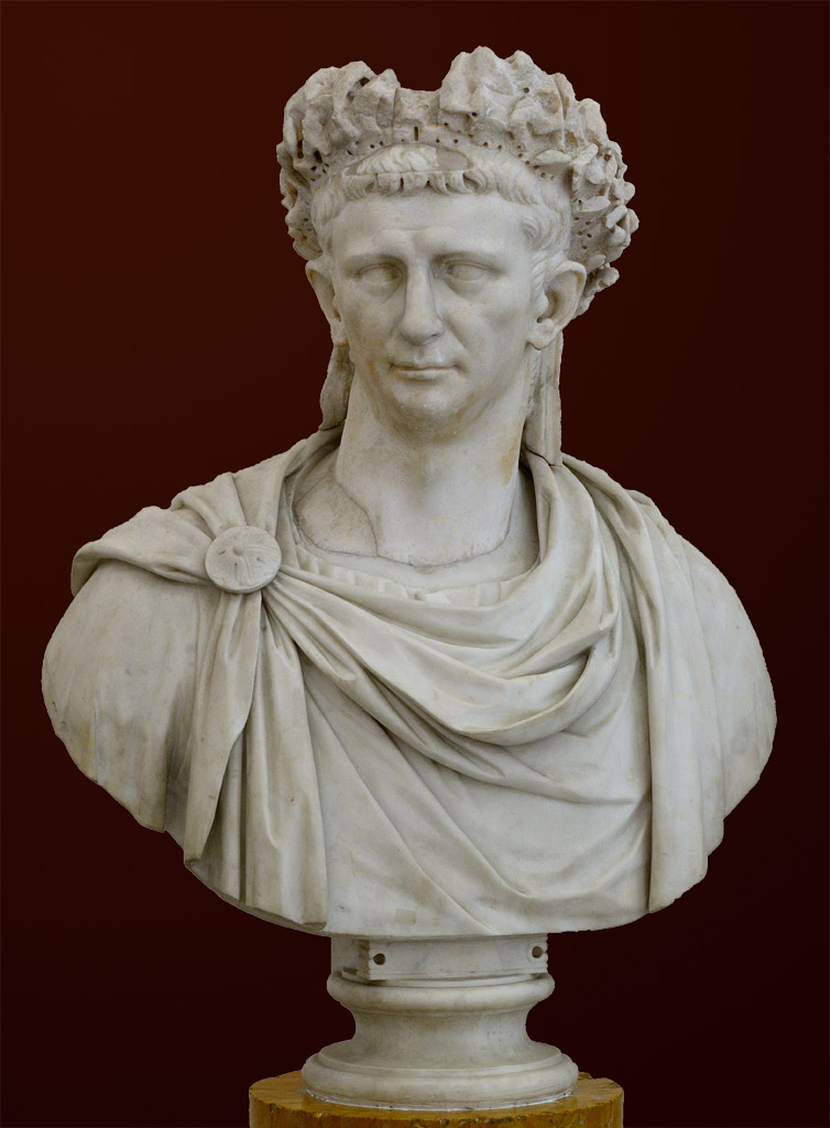 Portrait of the Emperor Claudius in corona quercea. White marble. 25—49 CE. H. 91 cm. Inv. No. 6060. Naples, National Archaeological Museum