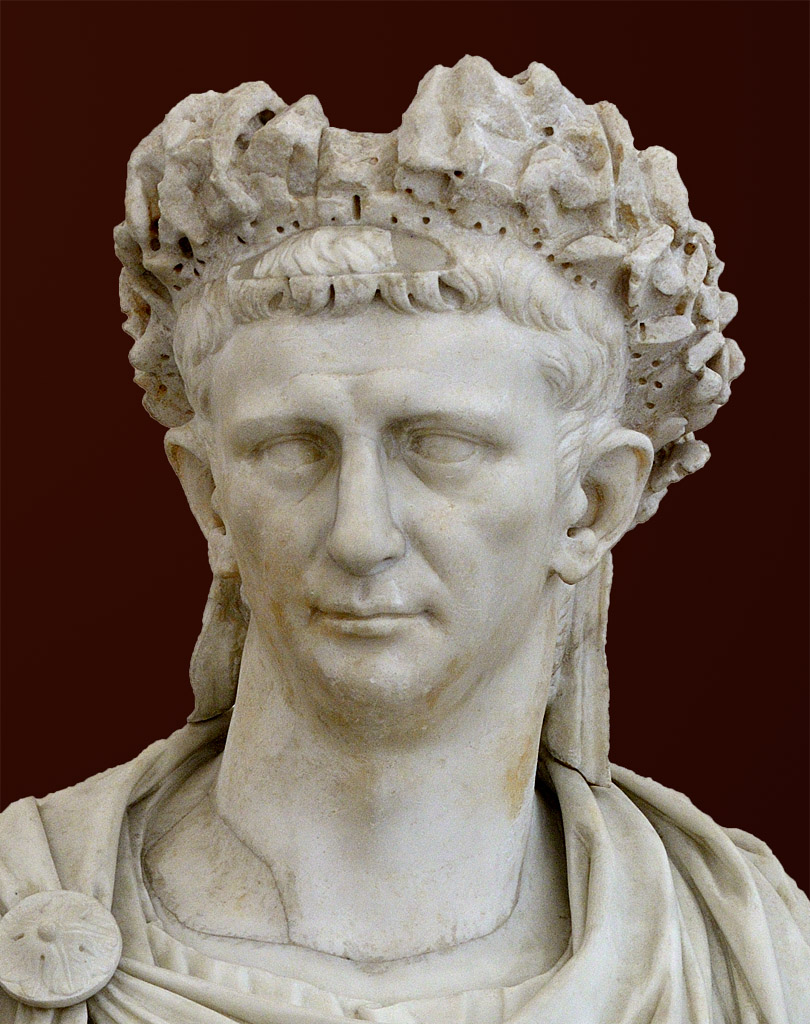 Portrait of the Emperor Claudius in corona quercea. Detail. White marble. 25—49 CE. Inv. No. 6060. Naples, National Archaeological Museum