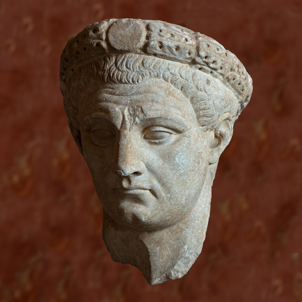 Portrait of the emperor Claudius wearing the wreath with a central medallion. Marble. 45—54 CE. Inv. No. MNC 1275 / Ma 1226. Paris, Louvre Museum