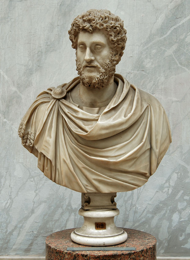 Bust of Commodus. Marble. 180—192 CE, bust re-worked. Inv. No. 2218. Rome, Vatican Museums, Chiaramonti Museum, New wing, 118