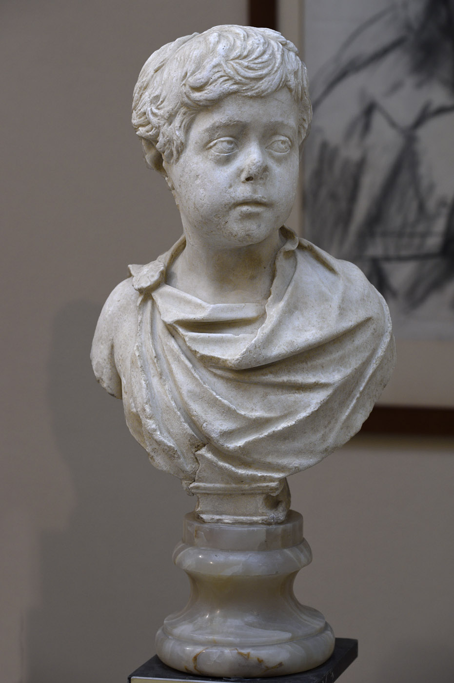Portrait of Commodus as a boy. Luna marble. 172—173 CE. Inv. No. 79. Ostia, Archaeological Museum