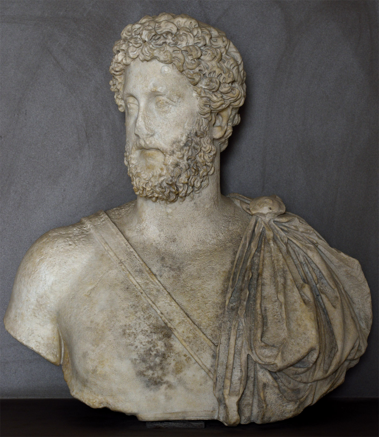Bust of Commodus. Fine-grained white marble. Last quarter of the 2nd cent. CE. Baia, Archaeological Museum of the Phlegraean Fields