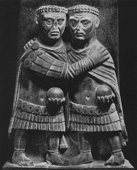 Group of the two emperors (Diocletian and Maximian). Porphyry. Early 4th century. Rome, Vatican Museums