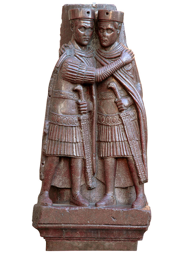 Two tetrarchs. Porphyry. Ca. 300 CE. Venice, Basilica of St. Mark