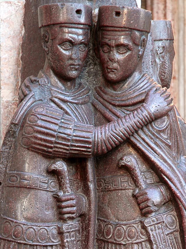 Two tetrarchs. Detail. Porphyry. Ca. 300 CE. Venice, Basilica of St. Mark