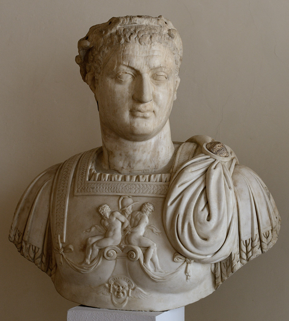 Domitian. Head: Asia Minor, local school, 84-96 CE. Bust: presumably, by Alessandro Vittoria, 16th cent. Marble. Inv. No. 252. Venice, National Archaeological Museum